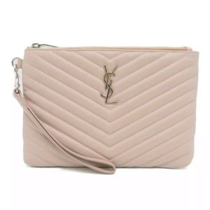 Authentic SAINT LAURENT Clutch Nude